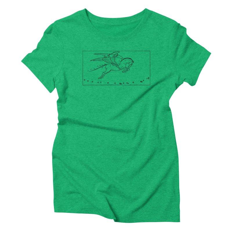 Perseus Riding Pegasus Women's Triblend T-Shirt by Green Grackle Studio