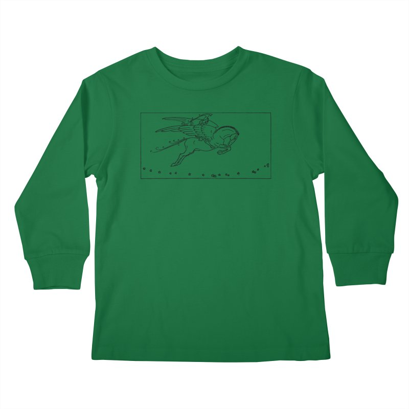 Perseus Riding Pegasus Kids Longsleeve T-Shirt by Green Grackle Studio