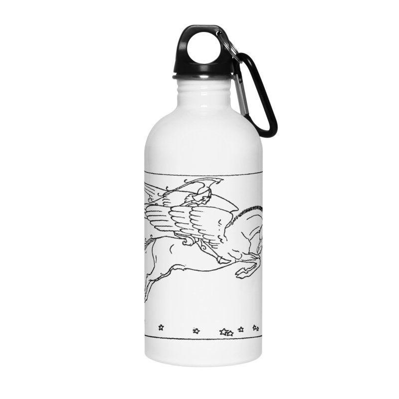 Perseus Riding Pegasus Accessories Water Bottle by Green Grackle Studio