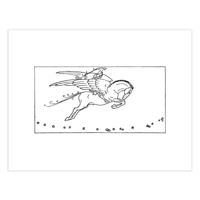 Perseus Riding Pegasus Home Fine Art Print by Green Grackle Studio