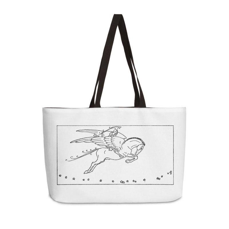Perseus Riding Pegasus Accessories Weekender Bag Bag by Green Grackle Studio