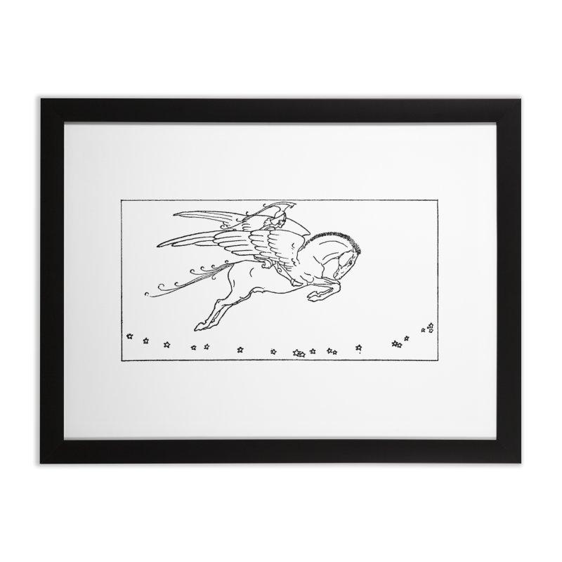 Perseus Riding Pegasus Home Framed Fine Art Print by Green Grackle Studio