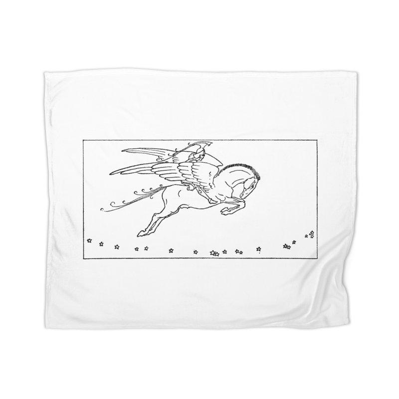 Perseus Riding Pegasus Home Blanket by Green Grackle Studio