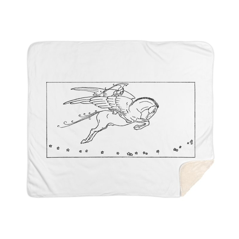 Perseus Riding Pegasus Home Blanket by Green Grackle Studio