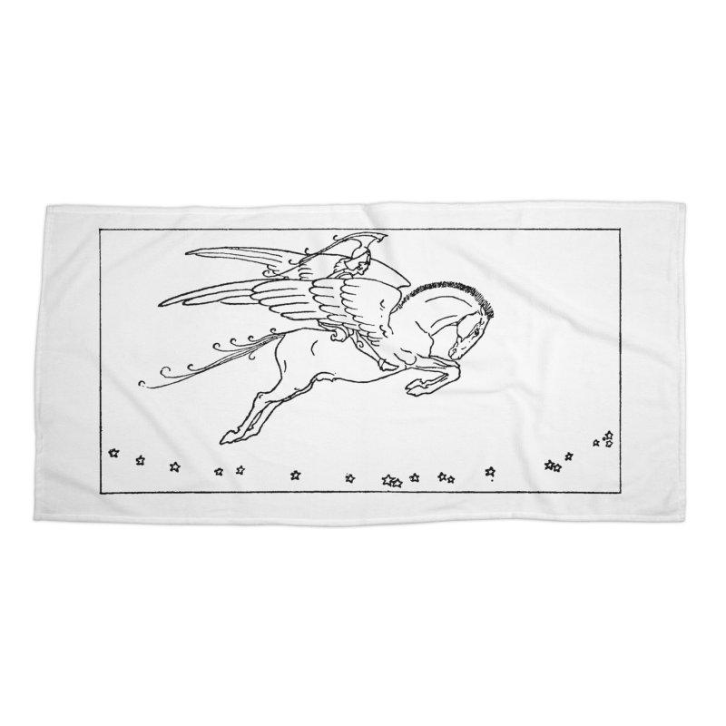 Perseus Riding Pegasus Accessories Beach Towel by Green Grackle Studio