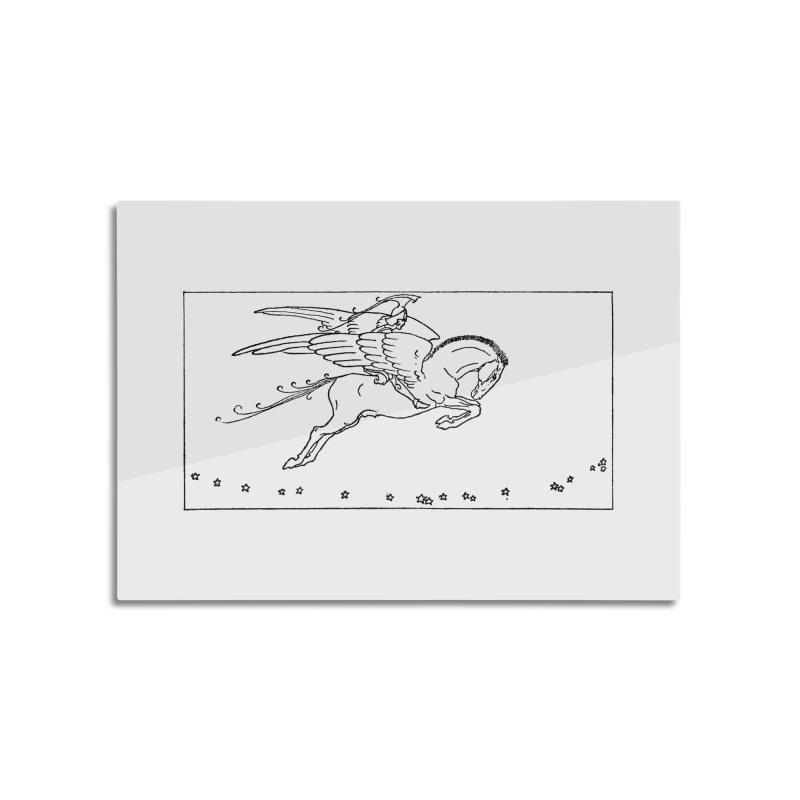Perseus Riding Pegasus Home Mounted Aluminum Print by Green Grackle Studio