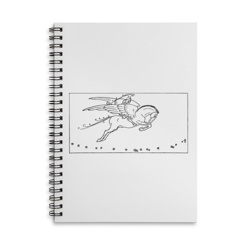 Perseus Riding Pegasus Accessories Lined Spiral Notebook by Green Grackle Studio