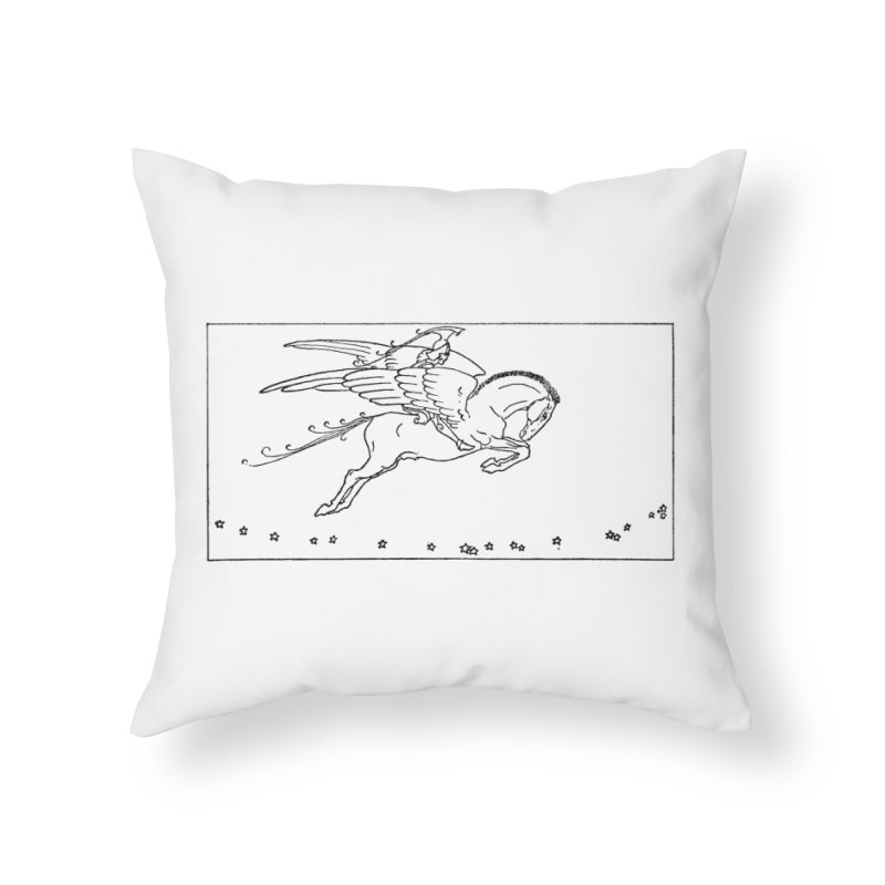 Perseus Riding Pegasus Home Throw Pillow by Green Grackle Studio