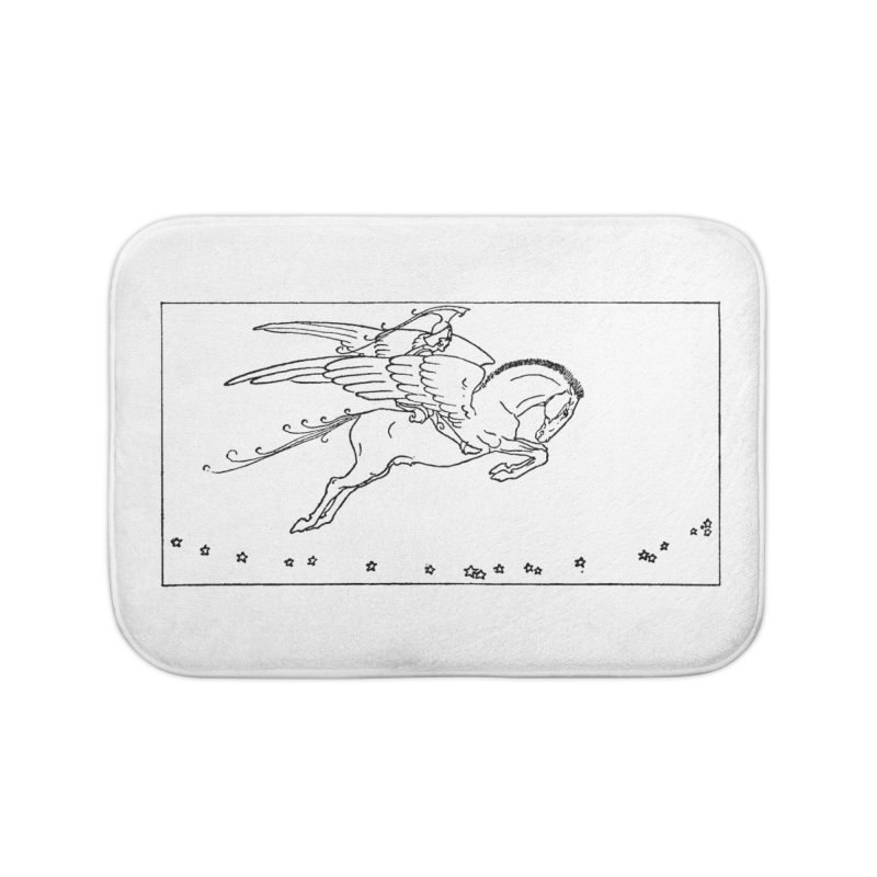 Perseus Riding Pegasus Home Bath Mat by Green Grackle Studio