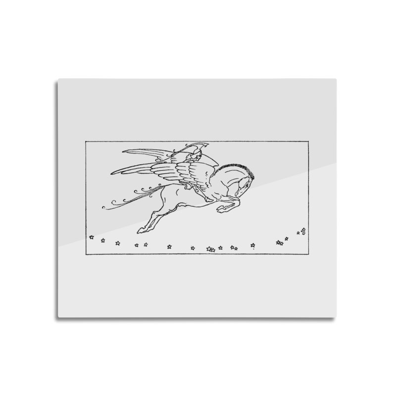 Perseus Riding Pegasus Home Mounted Aluminum Print by Green Grackle Studio