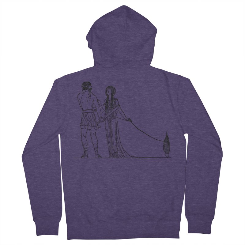 Theseus and Ariadne Men's French Terry Zip-Up Hoody by Green Grackle Studio