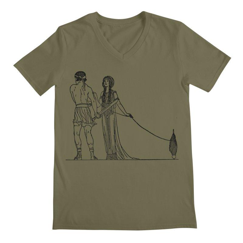 Theseus and Ariadne Men's V-Neck by Green Grackle Studio