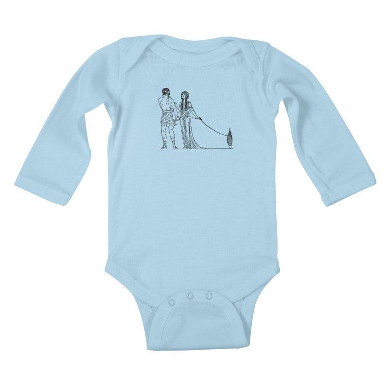 Theseus and Ariadne Kids Baby Longsleeve Bodysuit by Green Grackle Studio