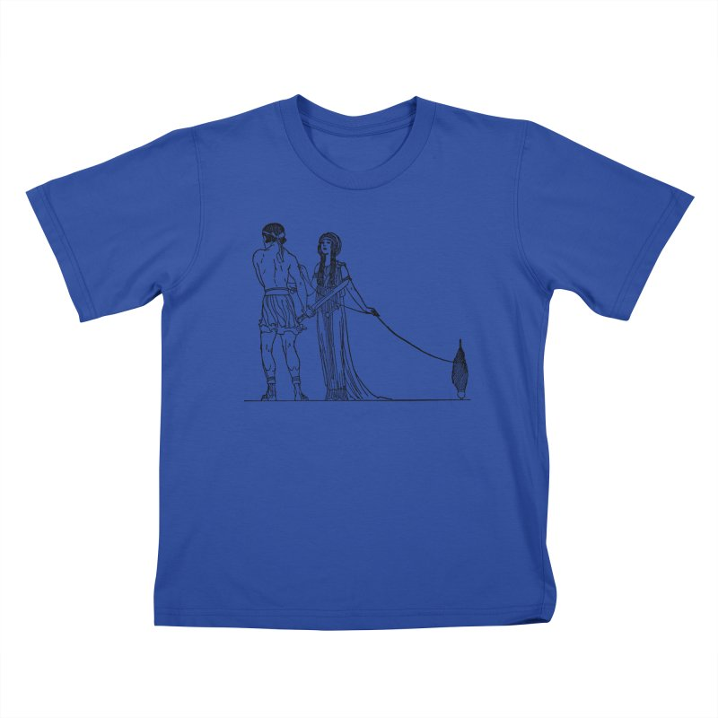 Theseus and Ariadne Kids T-Shirt by Green Grackle Studio