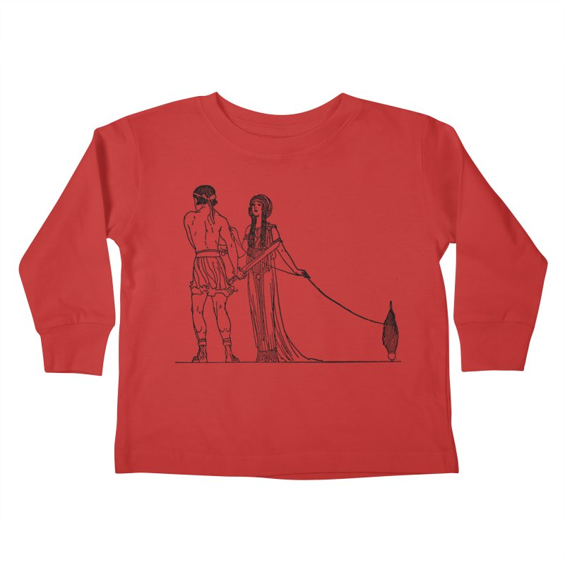 Theseus and Ariadne Kids Toddler Longsleeve T-Shirt by Green Grackle Studio