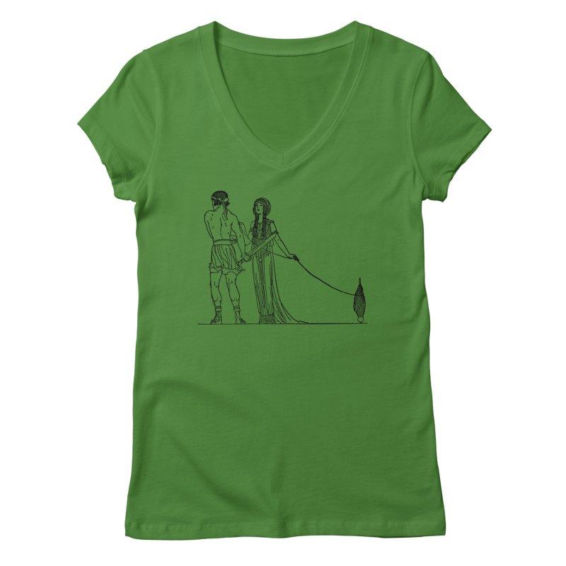 Theseus and Ariadne Women's Regular V-Neck by Green Grackle Studio