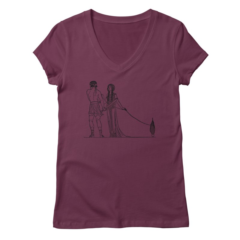 Theseus and Ariadne Women's Regular V-Neck by Green Grackle Studio