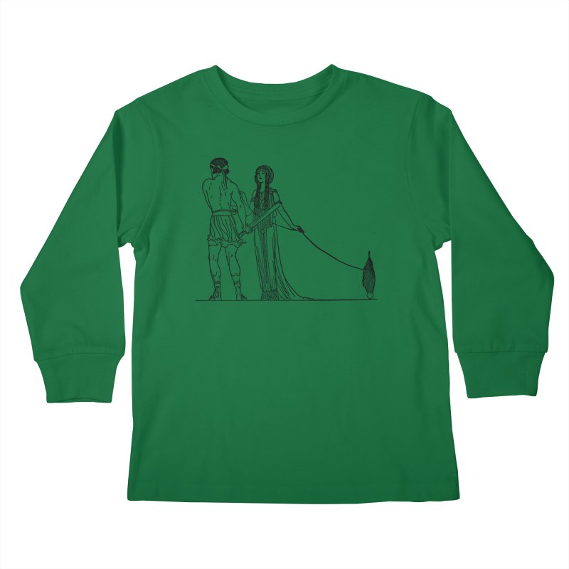 Theseus and Ariadne Kids Longsleeve T-Shirt by Green Grackle Studio