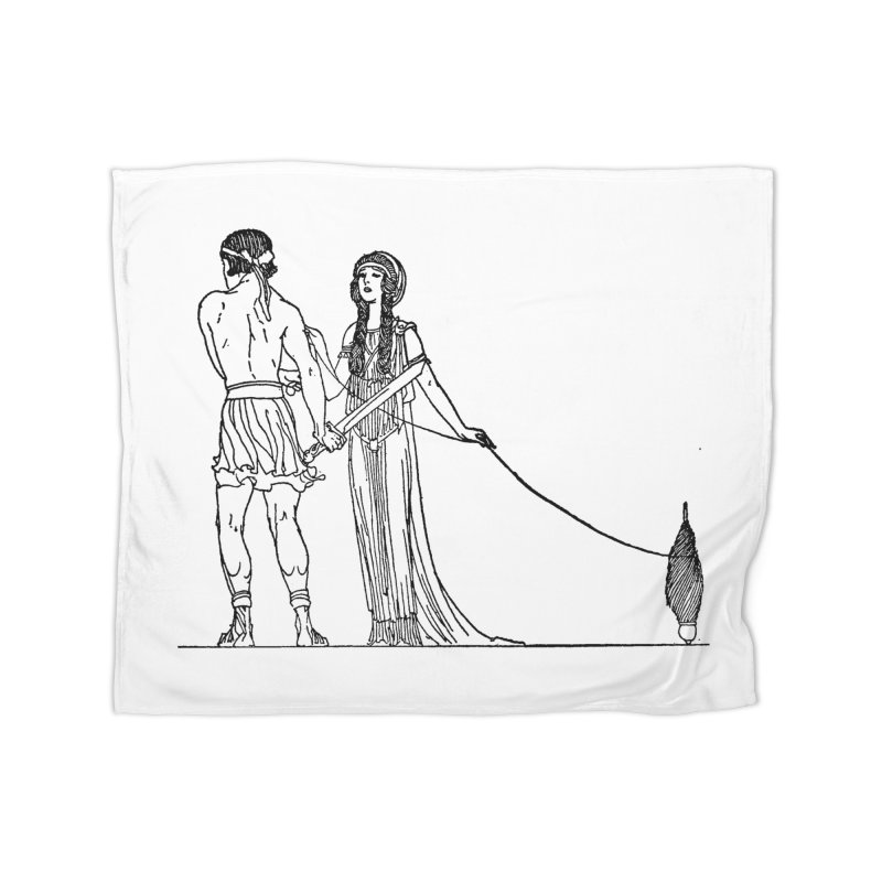 Theseus and Ariadne Home Fleece Blanket Blanket by Green Grackle Studio