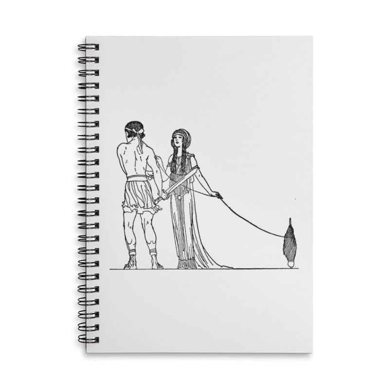 Theseus and Ariadne Accessories Lined Spiral Notebook by Green Grackle Studio