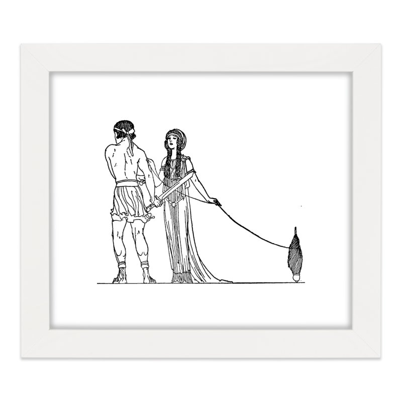 Theseus and Ariadne Home Framed Fine Art Print by Green Grackle Studio