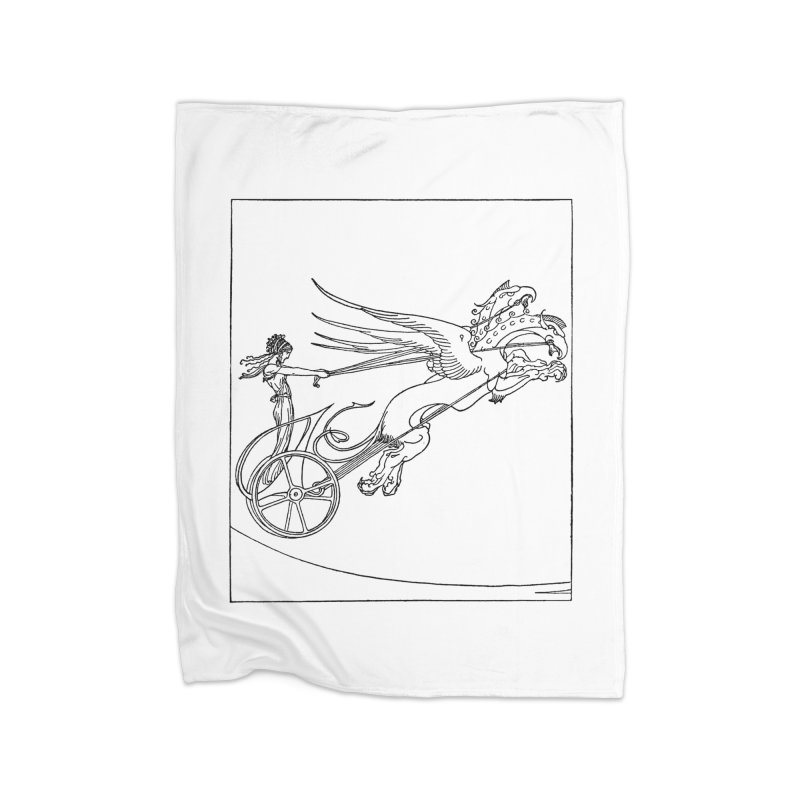 Medea and her Dragon Chariot Home Fleece Blanket Blanket by Green Grackle Studio