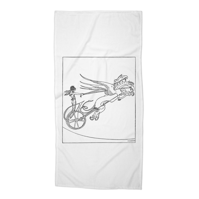 Medea and her Dragon Chariot Accessories Beach Towel by Green Grackle Studio