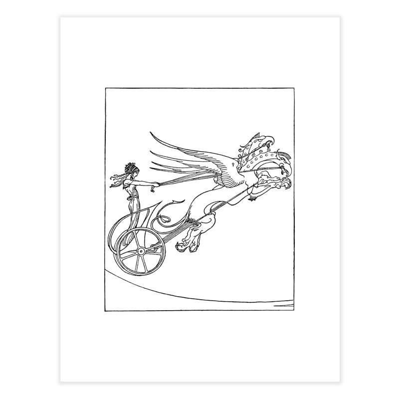 Medea and her Dragon Chariot Home Fine Art Print by Green Grackle Studio