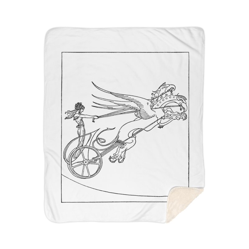 Medea and her Dragon Chariot Home Sherpa Blanket Blanket by Green Grackle Studio