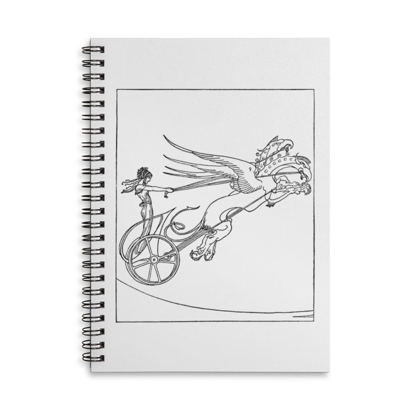 Medea and her Dragon Chariot Accessories Lined Spiral Notebook by Green Grackle Studio