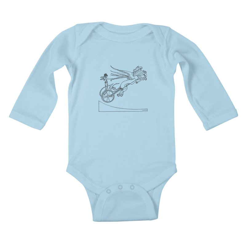 Medea and her Dragon Chariot Kids Baby Longsleeve Bodysuit by Green Grackle Studio