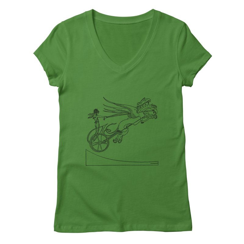 Medea and her Dragon Chariot Women's Regular V-Neck by Green Grackle Studio