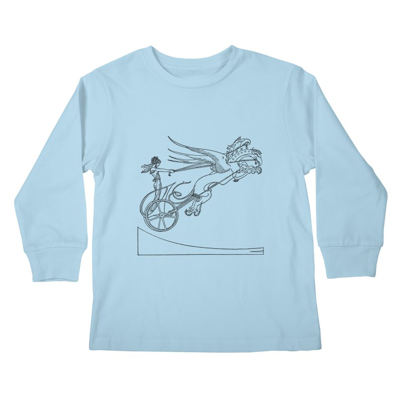 Medea and her Dragon Chariot Kids Longsleeve T-Shirt by Green Grackle Studio