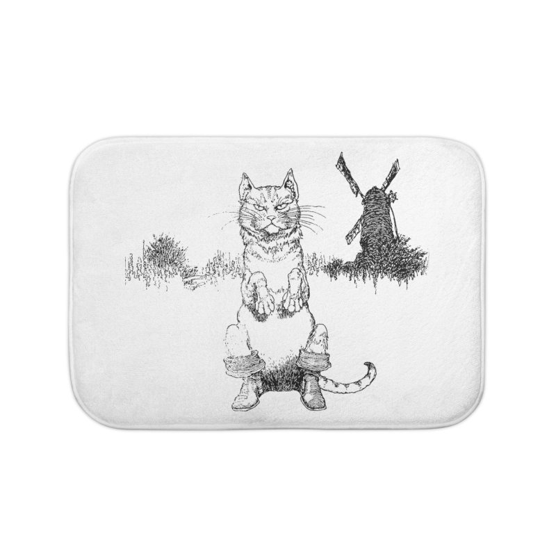 Puss in Boots Home Bath Mat by Green Grackle Studio