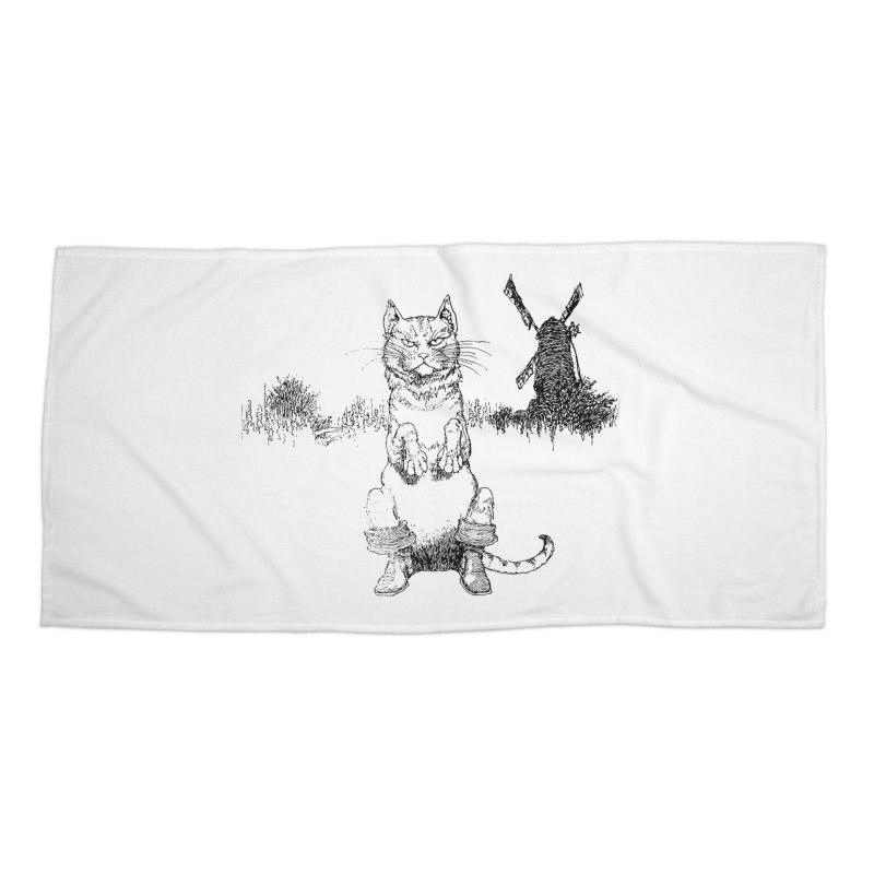 Puss in Boots Accessories Beach Towel by Green Grackle Studio