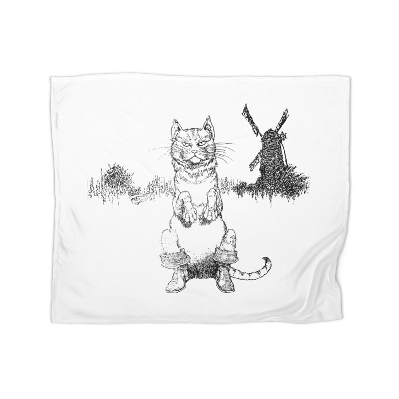 Puss in Boots Home Fleece Blanket Blanket by Green Grackle Studio