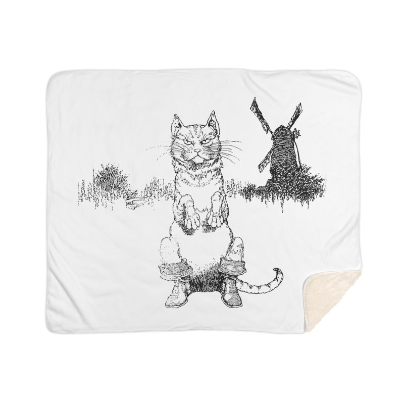 Puss in Boots Home Sherpa Blanket Blanket by Green Grackle Studio