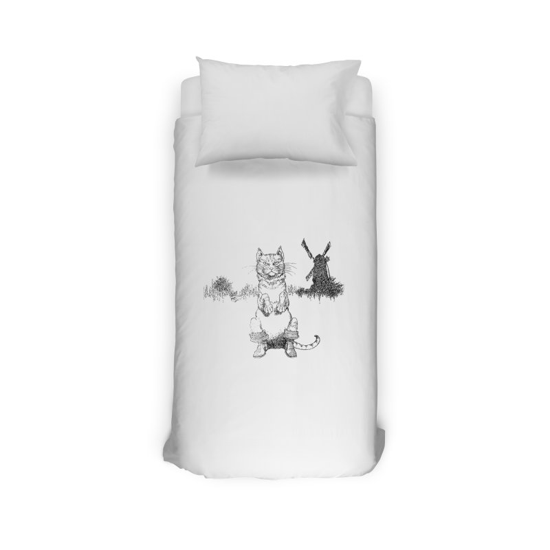Puss in Boots Home Duvet by Green Grackle Studio