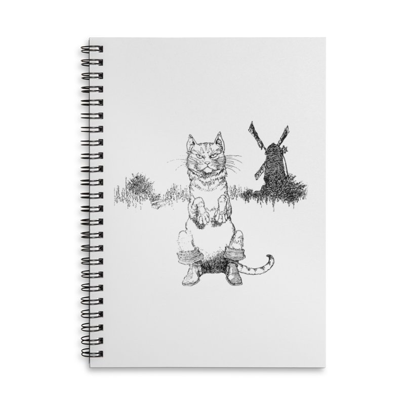 Puss in Boots Accessories Lined Spiral Notebook by Green Grackle Studio