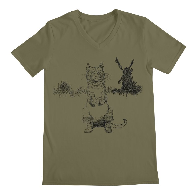 Puss in Boots Men's Regular V-Neck by Green Grackle Studio