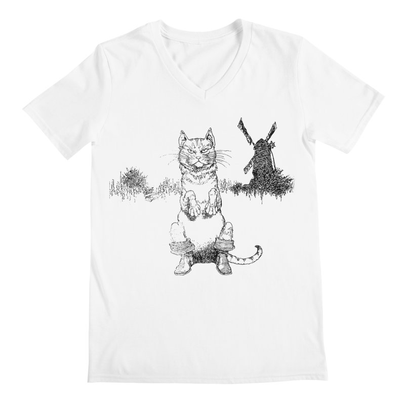 Puss in Boots Men's V-Neck by Green Grackle Studio