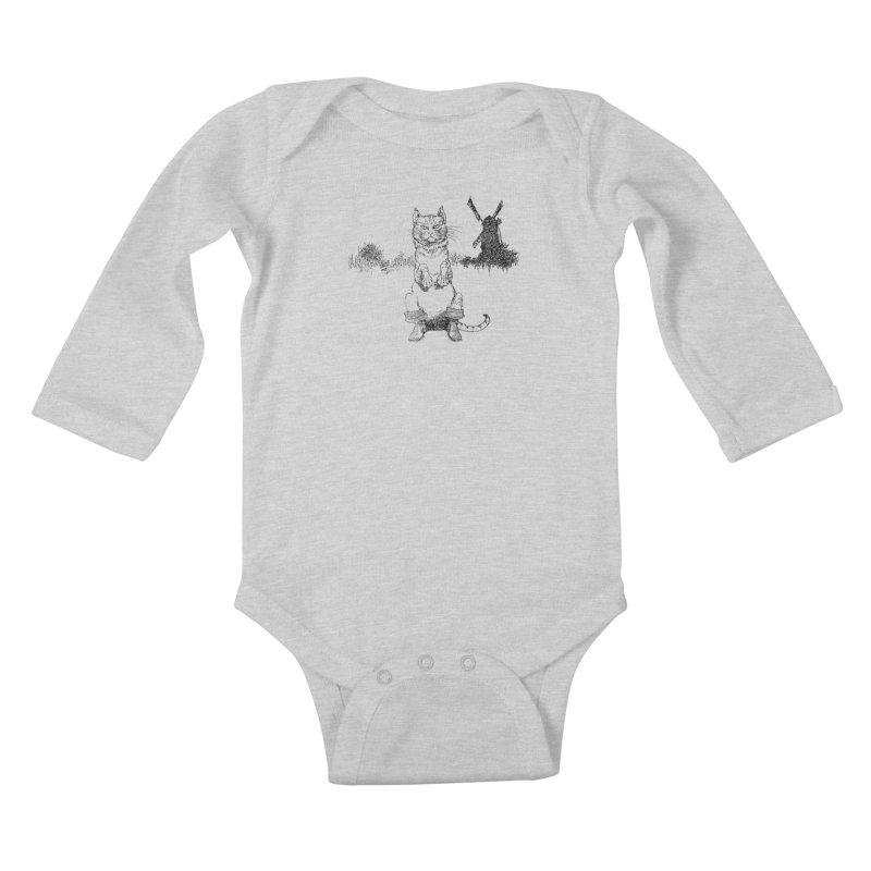 Puss in Boots Kids Baby Longsleeve Bodysuit by Green Grackle Studio