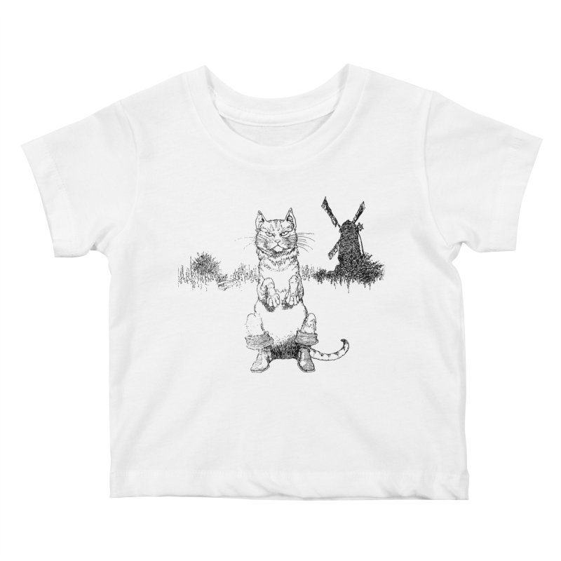 Puss in Boots Kids Baby T-Shirt by Green Grackle Studio