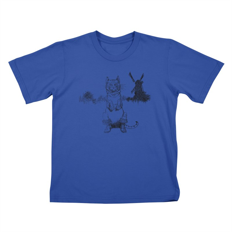 Puss in Boots Kids T-Shirt by Green Grackle Studio