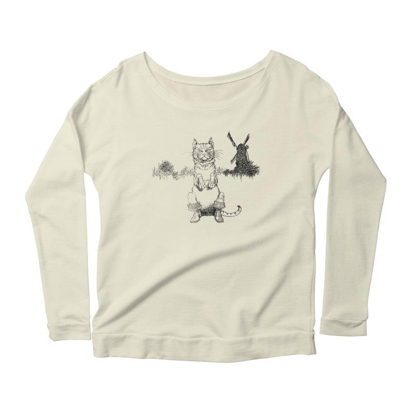 Puss in Boots Women's Scoop Neck Longsleeve T-Shirt by Green Grackle Studio
