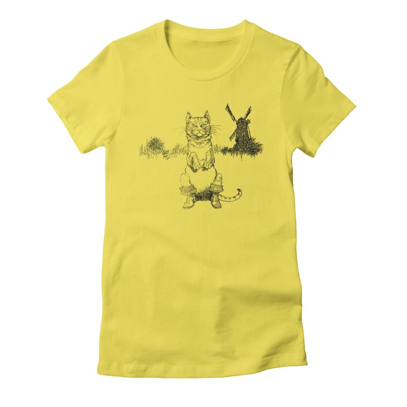 Puss in Boots Women's Fitted T-Shirt by Green Grackle Studio