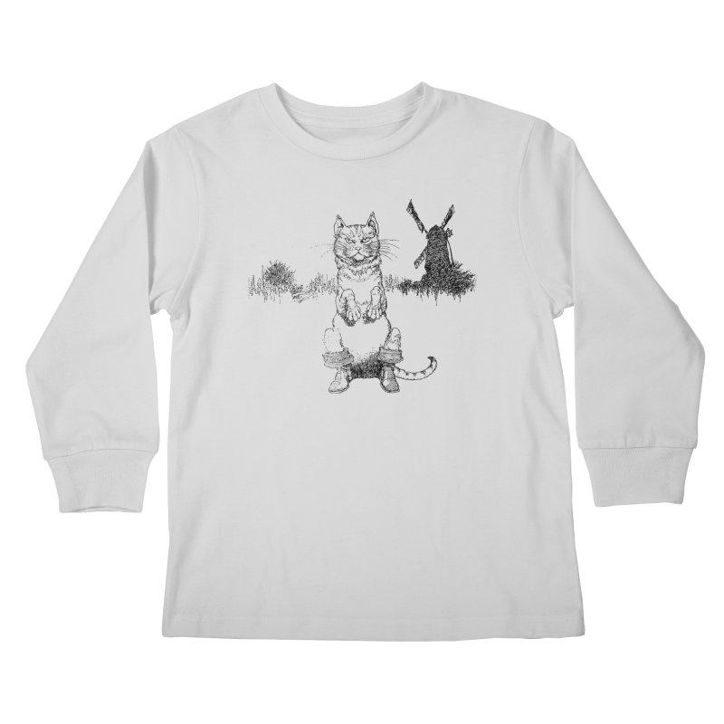 Puss in Boots Kids Longsleeve T-Shirt by Green Grackle Studio