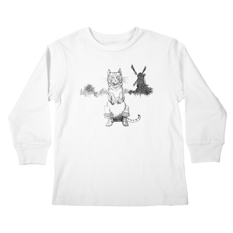 Puss in Boots Kids Longsleeve T-Shirt by Green Grackle Studio