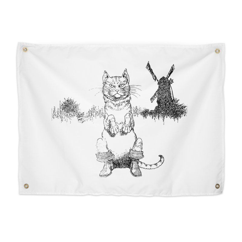 Puss in Boots Home Tapestry by Green Grackle Studio