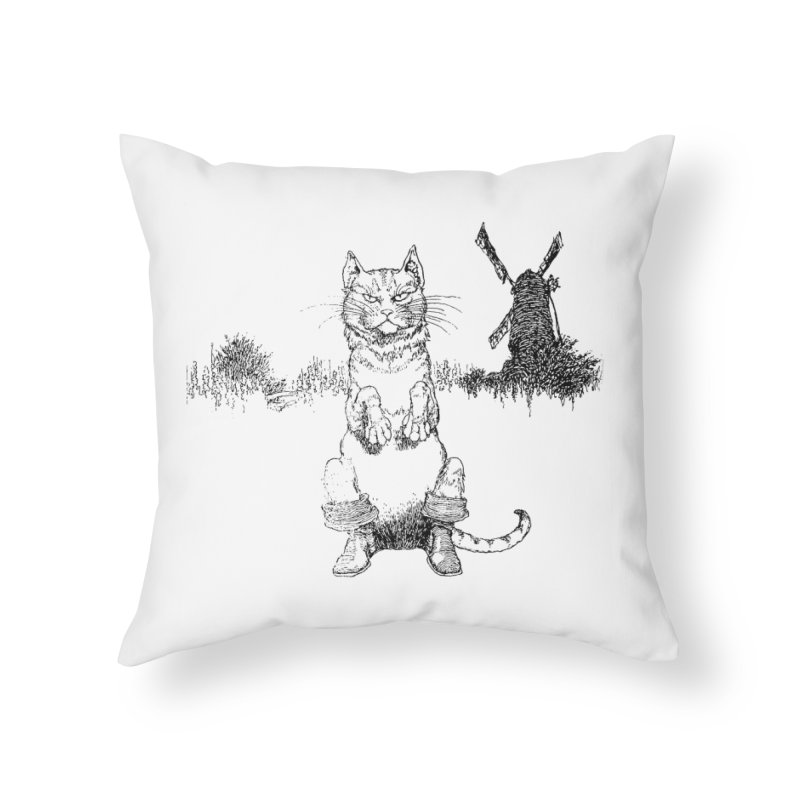 Puss in Boots Home Throw Pillow by Green Grackle Studio